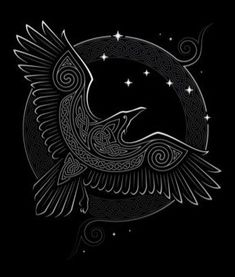 In Norse mythology, Odin had a pair of ravens whose names were Huginn and Muninn. They flew away from Asgard their home to pilot around the Nine Worlds to observe everything. When the night fell on the worlds, Huginn and Muninn would return back perching on Odin's shoulder and whispered in his ears what they had seen. Odin Norse Mythology, Norse Runes, Elder Futhark Runes, Viking Raven, Viking Art, Odin Symbol, Small Mandala Tattoo, Scandinavian Pattern, Marquesan Tattoos