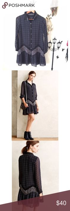 Anthropologie Shirtdress XS Plaid Shirtdress. Lovely shape. Flowery and button down. XSP. Worn 2-3 times no stains no holes. Perfect condition. Made by Greylin from Anthropologie. Polyester Anthropologie Dresses