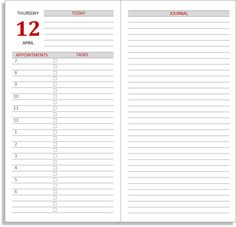 Free 2018 diary sets: Full size daily layouts