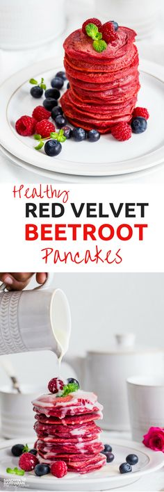 RED VELVET BEETROOT PANCAKES I am so glad that the gorgeous color on these RED VELVET PANCAKES comes from a natural ingredient- Beetroot ! Can it get any better to treat your VALENTINE this year?