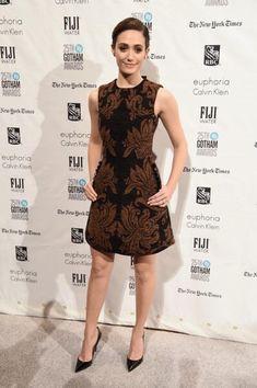 Emmy Rossum wearing Christian Louboutin So Kate Pumps, Simone Rocha Baroque Print A-Line Dress and Tory Burch Adele Tortoise Minaudiere
