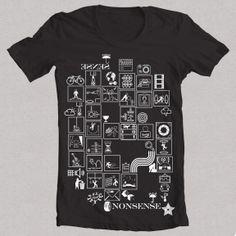 Camiseta NONSENSE negra 1 Camiseta NONSENSE W, Diseño propio original de FLIP: signos, símbolos, deportes, animales, acciones, vintage, ángel, bicicleta, sol, cine, figuras, siluetas, clima, señales, acciones.