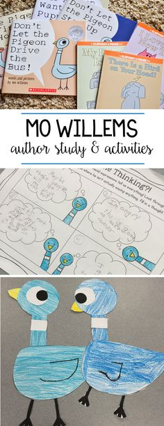 Mo Willems author study and activities for first and second grade! Students read about Pigeon, Elephant & Piggie, and Knuffle Bunny before completing some literacy activities. There is also a Pigeon craft to complete as well!
