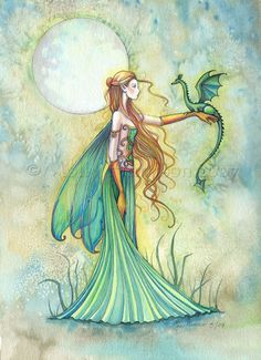 Discipline Fairy and Dragon Watercolor Giclee Print by Molly Harrison