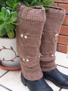 Hand Knitt Women Legwarmers Owl Legwarmers Gaiters by evefashion, £22.00
