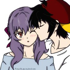Yuu kisses Shinoa's cheek! by Franc3s on DeviantArt