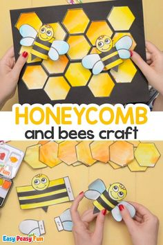 This Honeycomb and Bees Craft is great for anyone that wants to get creative and have a lot of fun along the way. It will bee a fun craft. Bee Crafts For Kids, Spring Crafts For Kids, Toddler Crafts, Preschool Crafts, Projects For Kids, Kid Crafts, Art Lessons For Kids, Art For Kids, Glue Crafts