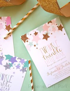 Twinkle Twinkle Little Star 1st Birthday Invitation by Paperie Off Park #twinkletwinklelittlestar #starbirthday #pinkmintgold