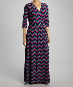 Magenta & Teal Chevron Surplice Maxi Dress - Plus #zulily #zulilyfinds