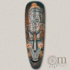 Holzmaske mit Buddhagravur (50cm) Buddha, Mindfulness, African Masks, Wood Carvings, Consciousness