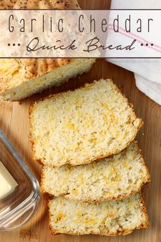 Garlic Cheddar Quick Bread ~ the perfect accompaniment to dinner, served warm or at room temperature | LoveBakesGoodCakes.com