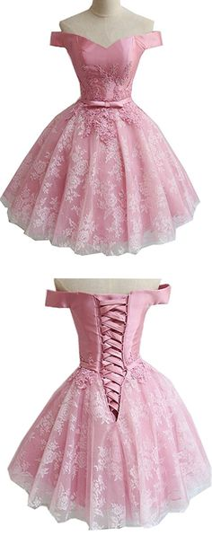 Ball Gown,Off-the-Shoulder Dress,Short Pink Homecoming Dress,Appliques Dresses