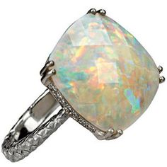 White gold ring with opal, Bottega Veneta