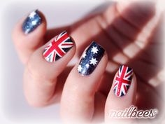Colorful Australian Flag Nails