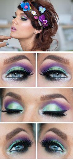 / Keywords: make-up, eye shadow, green, purple, fake eye lashes, winged eyeliner, Linda Hallberg
