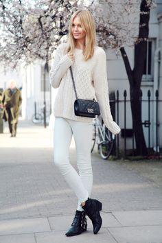 Tuula Vintage - white jeans, white knit, black boots, in Knightsbridge, London