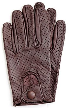 Men Genuine Leather Driving Texting Touch Screen Unlined Knuckle Holes Gloves Black//Brown, X-Large