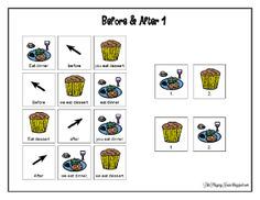 """Free Printables: The best way to teach """"before"""" and """"after"""" & other speech and DIY tips.  From: LikePlayingHouse.blogspot.com"""