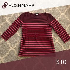 Burgundy shirt with pink stripes - 3/4 sleeves Super cute! Carole Little Tops Blouses