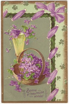 French new year postcard - Violets in a basket and a glass, embossed flower card - Antique romantic edwardian floral postcard - 1910 (B429)