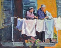 """Laundry Day by Jeanne Edwards Oil ~ 16"""" x 20"""""""