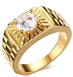 Adisaer Men's Stainless Steel Promise Ring Cubic Zirconia CZ Band Gold Plated Size 7-11 Comfort Fit