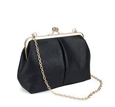 Hoxis Classical Kiss Lock Faux Leather Clutch with Chian Starp Womens Shoulder Bag Purse (Black) Hoxis http://www.amazon.com/dp/B01CG09JWQ/ref=cm_sw_r_pi_dp_oLL6wb04WSCCX
