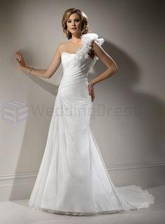 Organza One-shoulder Strap Neckline Slim A-line Wedding Dress