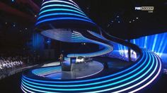 Stage design- swirling ribbon with lighting