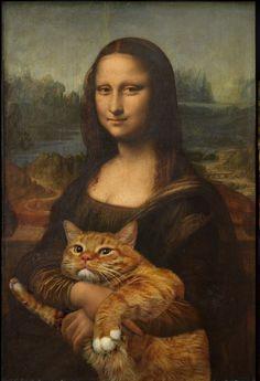 La Mona Lisa de Leonardo da Vinci. | 17 obras de arte clásicas mejoradas por un gato gordo pelirrojo