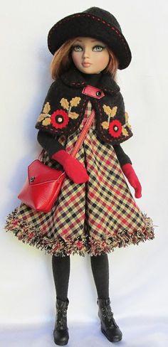 Plaid Dress, Appliqued Cape, Hat, Gloves & Handbag by ssdesigns 09/2012
