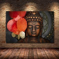 Bronze Vivid Buddha Face Wall Art Poster And Print On Canvas Painting Wall Pictures For Living Room Temple Office Decoration Buddha Canvas, Buddha Wall Art, Buddha Painting, Buddha Decor, Nirvana Art, Nirvana Lyrics, Canvas Wall Art, Canvas Prints, Art Deco Print