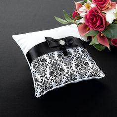 Black Damask Ring Pillow image