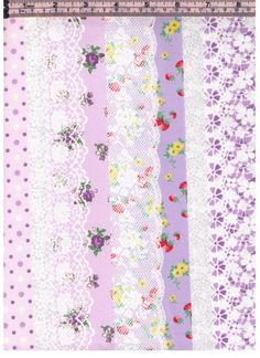 HALF YARD Yuwa - PURPLE Strawberry Lace Cheater Stripes Colorway D - Plaid Flower Cherry Dots Roses Gingham -Atsuko Matsuyama 30s collection by fabricsupply on Etsy