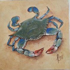 'Blue Crab for Dinner' 12 x 12 acrylic on gallery wrapped canvas by J.L.Remy