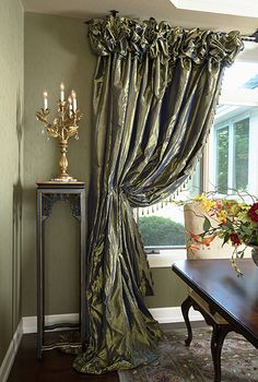 Silk custom draperies, luxurious and plenty of fullness.