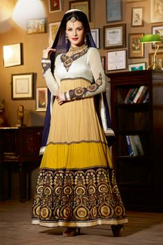 febf69f7de09 Beige and blue floor length anarkali suit Beige and blue semi georgette  anarkali White yoke and sleeves with embroidered Beige and yellow panel on  flare ...