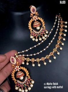 Latest Necklace Design, Pearl Necklace Designs, Jewelry Design Earrings, Gold Earrings Designs, Gold Jewellery Design, Gold Jewelry, Diamond Jewellery, Antique Jewellery Designs, Antique Jewelry