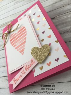 Stampin Up Occasions Catalog 2018. Kim Williams, stampinwithkjoyink.typepad.com. Heart Happiness stamp set and Sweet and Sassy Framelits. Valentine card idea with a surprise inside. A pop up heart card. See tutorial on my blog. Card folds, card ideas, card making. Valentine cards.