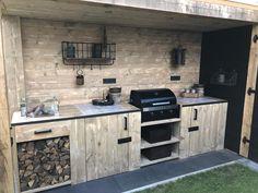 Backyard Pavilion, Backyard Patio Designs, Diy Patio, Outdoor Kitchen Patio, Outdoor Kitchen Design, Diy Bbq Area, Bbq Shed, Patio Grill, Backyard Fireplace