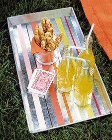 Martha Stewart: DIY Striped Tray. Note**Make sure that the paint you use is designed for metal surfaces. Enamel will not work.