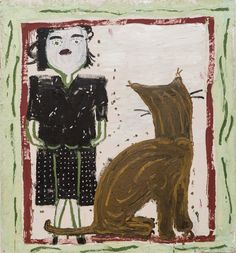 RA Summer Exhibition 2016 work 1073: PARTY CLOTHES (RW AND CAT) by Rose Wylie RA, . #RASummer