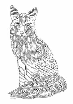 Fox Zentangle Animal Coloring Pages For Adults