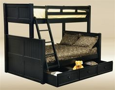 Shop for affordable twin over full bunk beds with under bed trundle and drawers. Space saving wood bunk beds twin over full in white, black, gray and blue. Black Bunk Beds, Twin Full Bunk Bed, Bunk Beds With Storage, Metal Bunk Beds, Bunk Beds With Stairs, Kids Bunk Beds, Loft Beds, Trundle Beds, Bunk Beds
