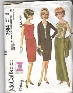 "Vintage 1960's Sewing Pattern Misses' Suit, Evening Skirts & Top Bust 38"" #McCalls"