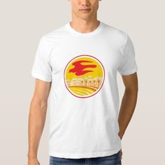 Peregrine Falcon Silhouette Oval Retro T Shirt. Illustration of a silhouette of a peregrine falcon hawk eagle bird flying set inside oval shape with building, palm trees, coastline in the background done in retro style. #Illustration #PeregrineFalconSilhouette