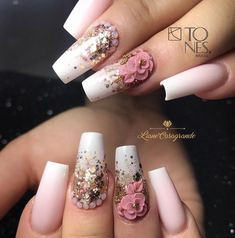 42 beautiful christmas acrylic coffin nails design ideas to warm your winter 14 Glam Nails, Bling Nails, Toe Nails, Beauty Nails, Coffin Nails, Creative Nail Designs, Creative Nails, 3d Nail Designs, Fabulous Nails