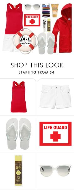 """""""LIFEGUARD....Clock's Ticking: Last-Minute Halloween Costumes"""" by beleev ❤ liked on Polyvore featuring Gap, Havaianas, Sun Bum, Ray-Ban, polyvorecontest and lastminutecostume"""