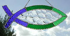 "Green Stained Glass Ichthys Fish Suncatcher Design - 4"" x 11"" - $19.95 - From Accent on Glass - Visit us at www.AccentonGlass.com"
