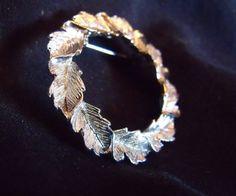 Vintage Gerrys Brooch Silver Tone Oak Leaf